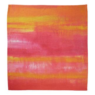 かわいくガーリーなピンク、赤く、黄色の抽象美術 バンダナ
