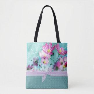 かわいくガーリーな水玉模様、咲く花 トートバッグ