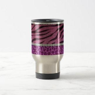 かわいくガーリーな紫色のアニマルプリントのダイヤモンド トラベルマグ