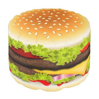 かわいくクールでおもしろいなハンバーガーのラウンドパフのオットマンの座席 プーフ