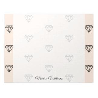 かわいくシックなダイヤモンドのピンクパターン ノートパッド