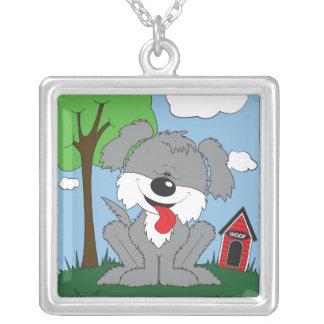 かわいくシャギーな子犬の漫画 シルバープレートネックレス