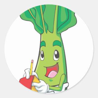 かわいくフレンドリーな野菜のウェイター ラウンドシール