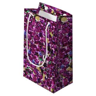 かわいくモダンなマゼンタのピンクのスパンコールの輝き スモールペーパーバッグ