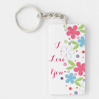 """かわいくロマンチックな花の絵""""私は愛します"""" 長方形(両面)アクリル製キーホルダー"""