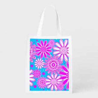 かわいく再使用可能な春の花のデザイン エコバッグ