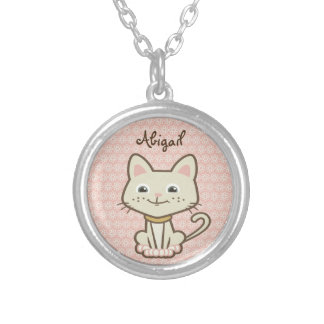 かわいく名前入りで白い子猫猫のネックレス シルバープレートネックレス