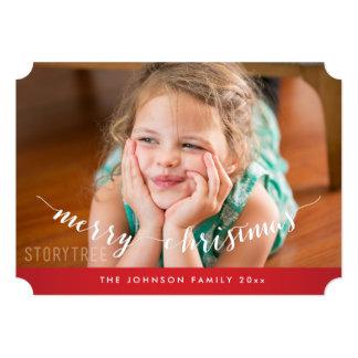 かわいく名前入りで赤いメリークリスマスカードチケット カード