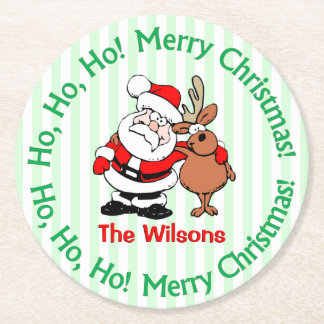 かわいく名前入りなクリスマスサンタクロース ラウンドペーパーコースター