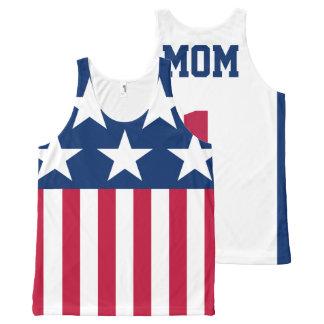 かわいく名前入りな#1お母さんの米国旗 オールオーバープリントタンクトップ