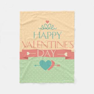 かわいく多彩で幸せなバレンタインデーのデザイン フリースブランケット