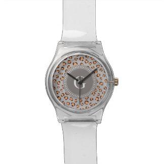 かわいく多彩なオレンジ茶色のチータのプリントのモノグラム 腕時計