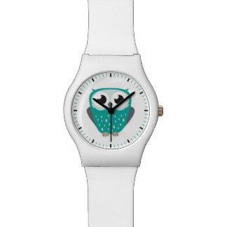 かわいく大きい注目された青緑色のフクロウの絵 腕時計