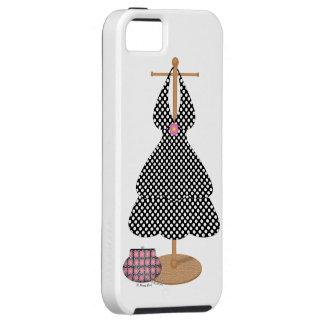 かわいく女の子らしい白黒水玉模様の服 iPhone SE/5/5s ケース