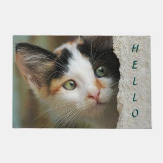 かわいく好奇心が強い子ネコの詮索好きな目、記入項目こんにちは ドアマット