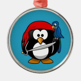 かわいく小さいアニメの海賊ペンギン メタルオーナメント