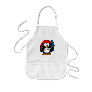 かわいく小さいアニメの海賊ペンギン 子供用エプロン