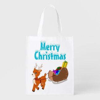かわいく小さいクリスマスのトナカイのエコバッグ エコバッグ