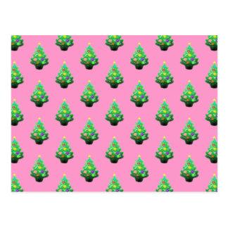 かわいく小さいクリスマスツリーパターン ポストカード