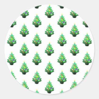 かわいく小さいクリスマスツリーパターン ラウンドシール