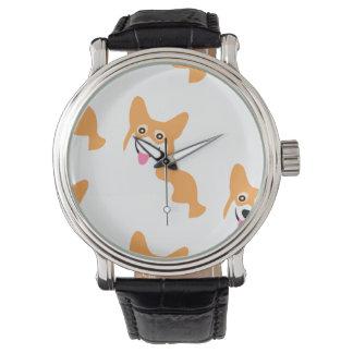 かわいく小さいコーギーパターン 腕時計
