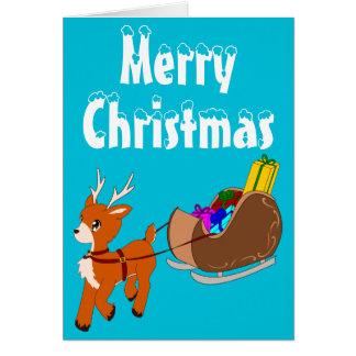 かわいく小さいトナカイのクリスマスの挨拶状 グリーティングカード
