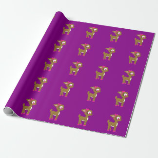 かわいく小さいトナカイの紫色の包装紙 ラッピングペーパー