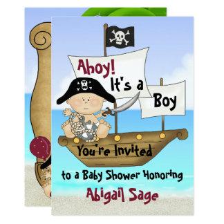 かわいく小さいバッカニアの海賊ベビーシャワーの招待 12.7 X 17.8 インビテーションカード