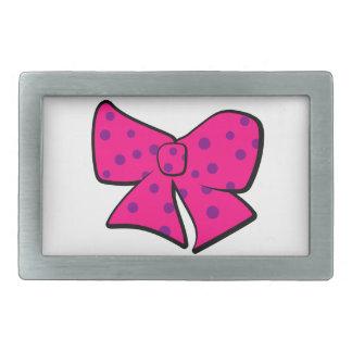 かわいく小さいピンクおよび紫色の弓 長方形ベルトバックル