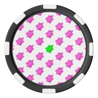 かわいく小さいピンクかアオウミガメパターン ポーカーチップ