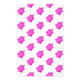 かわいく小さいピンクのカメパターン 便箋
