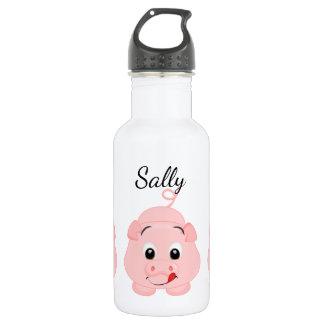 かわいく小さいピンクの豚のような名前入り ウォーターボトル