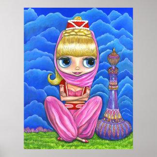 かわいく小さいピンクの魔神の女の子及び紫色の魔法のボトル ポスター