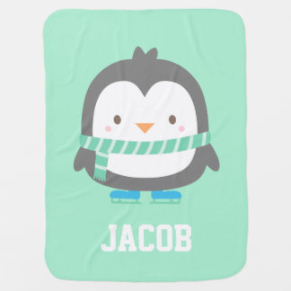 かわいく小さいペンギンの暖かいベビーブランケットを保つこと ベビー ブランケット