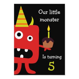 かわいく小さいモンスターの子供の誕生日のパーティーの招待 カード