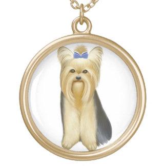 かわいく小さいヨークシャテリア犬のネックレス ゴールドプレートネックレス