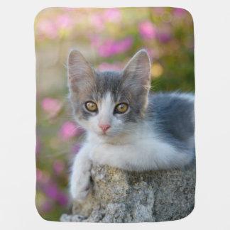 かわいく小さい二色の子ネコの柔らかい写真の猫好き ベビー ブランケット