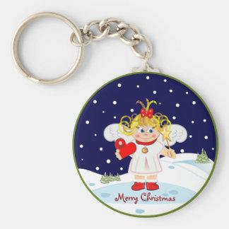 かわいく小さい天使のメリークリスマスのkeychain キーホルダー