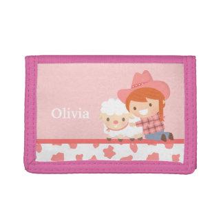 かわいく小さい女性のカーボーイおよび子ヒツジの女の子の財布