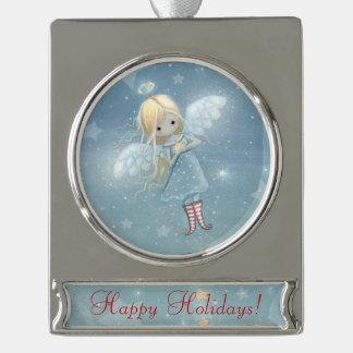 かわいく小さい星の天使のお洒落なファンタジーの芸術 シルバープレートバナーオーナメント