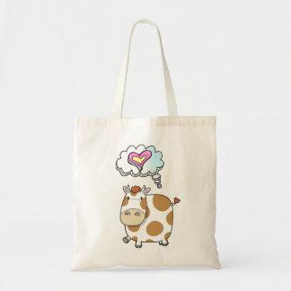 かわいく小さい牛愛思考のプラスチック・バッグ トートバッグ