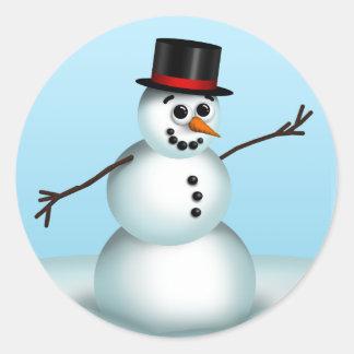 かわいく小さい雪だるまの冬のステッカー ラウンドシール