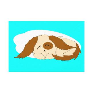 かわいく小さく眠い小犬のキャンバスプリント キャンバスプリント