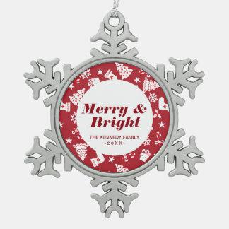 かわいく小さく赤いクリスマスパターン スノーフレークピューターオーナメント