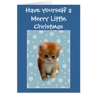 かわいく小さく赤い子ネコはメリークリスマスを望みます グリーティングカード