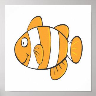 かわいく幸せで小さいピエロの魚のマンガのキャラクタ ポスター