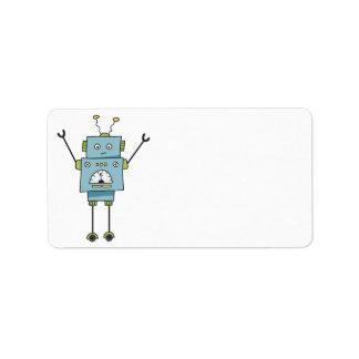 かわいく幸せで青いロボットブランク ラベル