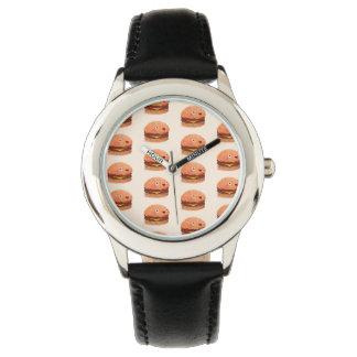 かわいく幸せなハンバーガーのステンレス鋼の黒 腕時計