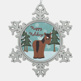 かわいく幸せな休日の栗毛の馬のオーナメント スノーフレークピューターオーナメント