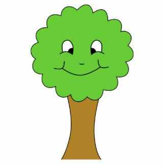 かわいく幸せな緑の木。 白 写真彫刻バッジ